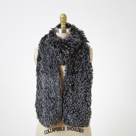 Silver Tipped Fox in Black Luxury Faux Fur Scarf