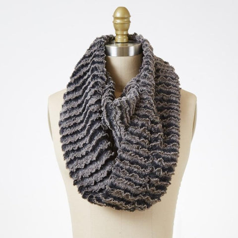 Desert Sand In Charcoal Luxury Faux Fur Infinity Scarf