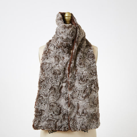 Cuddly Chocolate with Praline Swirl Luxury Faux Fur Scarf