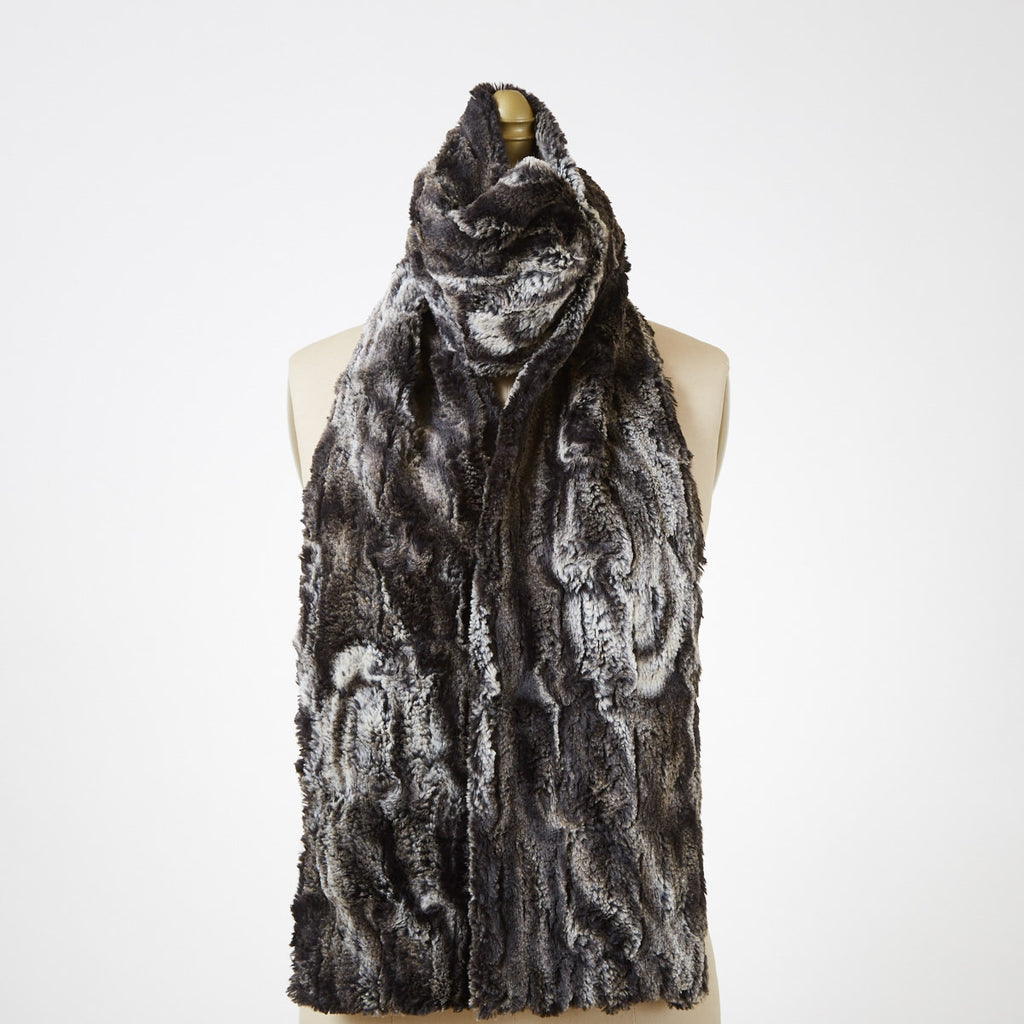 Agate In Black Luxury Faux Fur Scarf