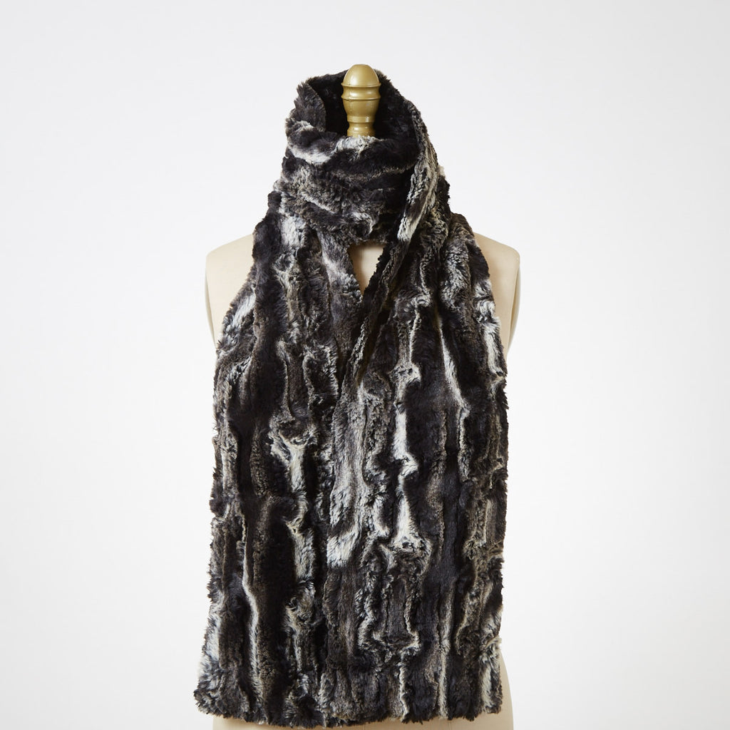Agate in Black with Cuddly Black Luxury Faux Fur Scarf
