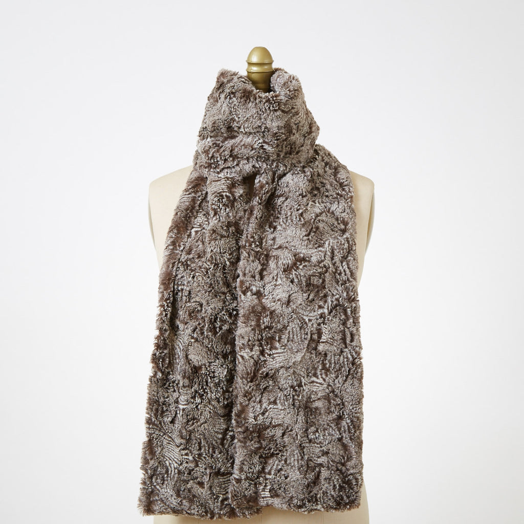 Praline Swirl Luxury Faux Fur Scarf