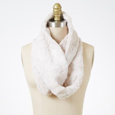 Cuddly in Sand Luxury Faux Fur Infinity Scarf