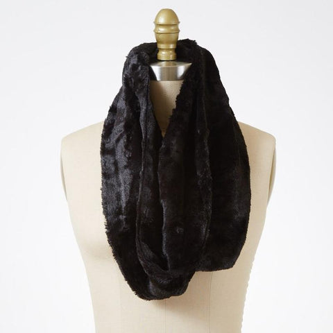 Minky Fur in Black Luxury Faux Fur Infinity Scarf