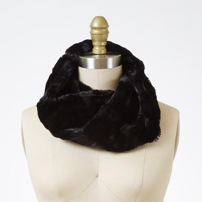 Minky in Black Luxury Faux Fur Neck Warmer
