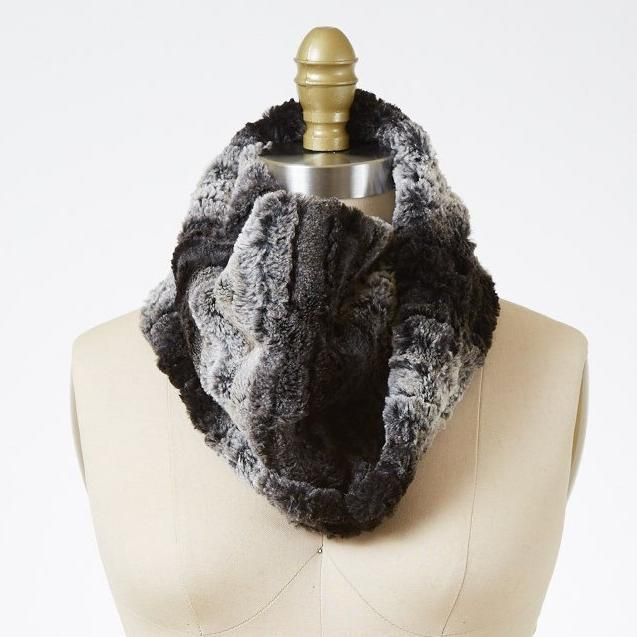 Chinchilla In Black Luxury Faux Fur Neck Warmer