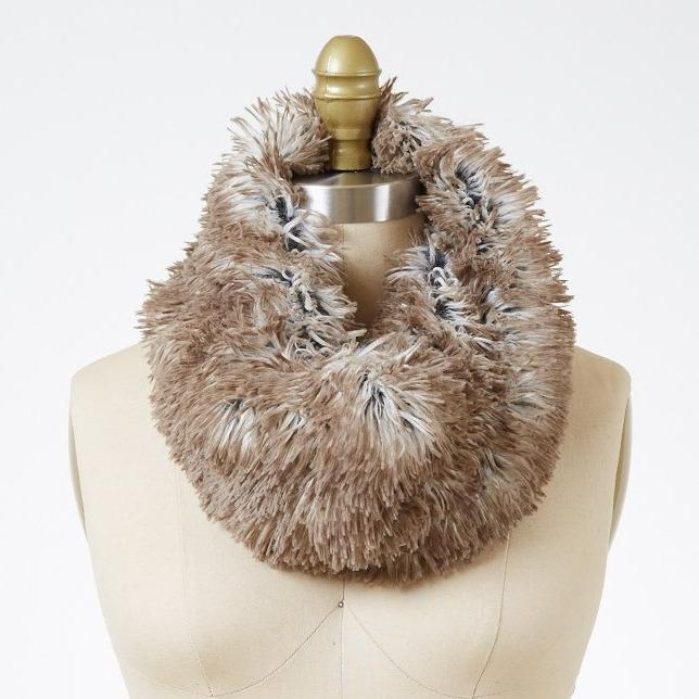 Gray Arctic Fox Luxury Faux Fur Neck Warmer
