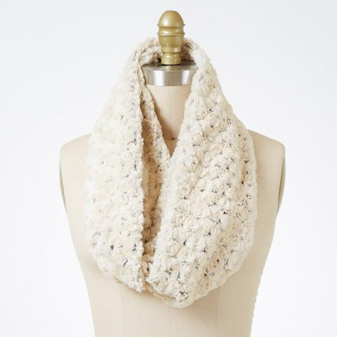 Rosebud In Brown Luxury Faux Fur Infinity Scarf