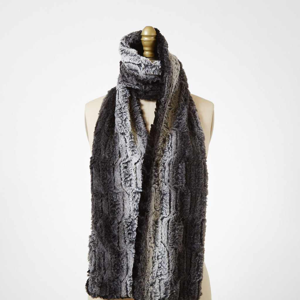 Cuddly In Black with Chinchilla In Black Luxury Faux Fur Scarf