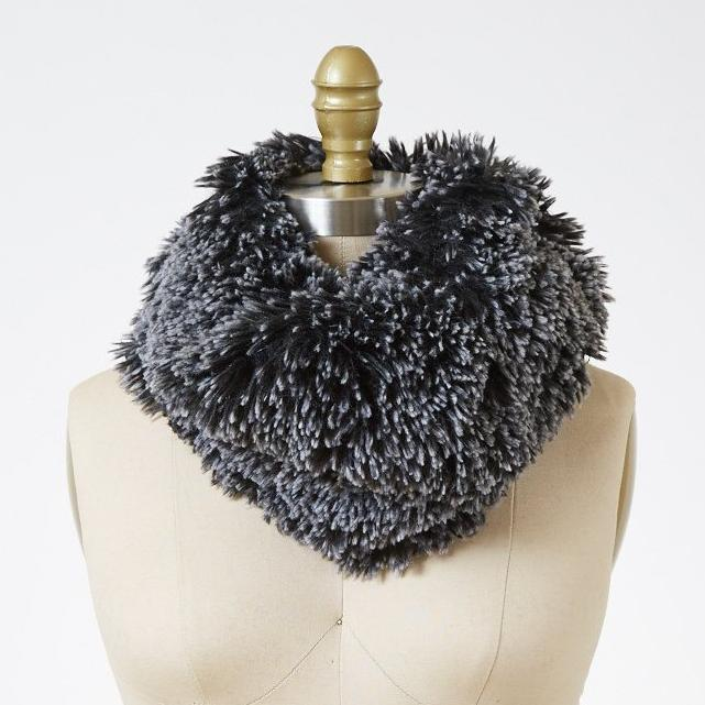 Silver Tipped Fox in Black Luxury Faux Fur Neck Warmer
