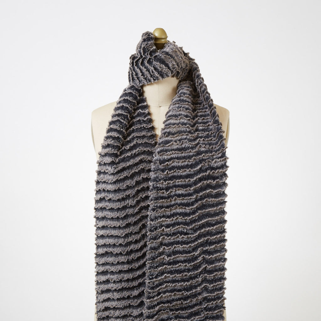 Desert Sand in Charcoal Luxury Faux Fur Scarf