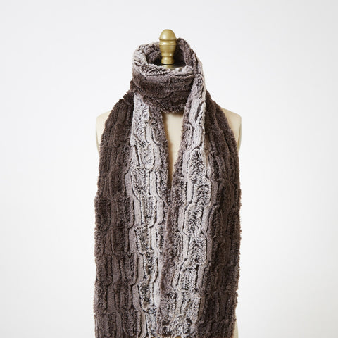 Chinchilla In Brown Luxury Faux Fur Scarf