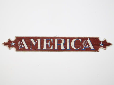 America, White Letters on Quarter Board Americana Art