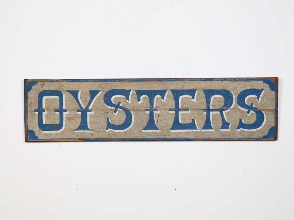 Oysters, Blue Letters/White Shadow, Blue Border on Gray Americana Art