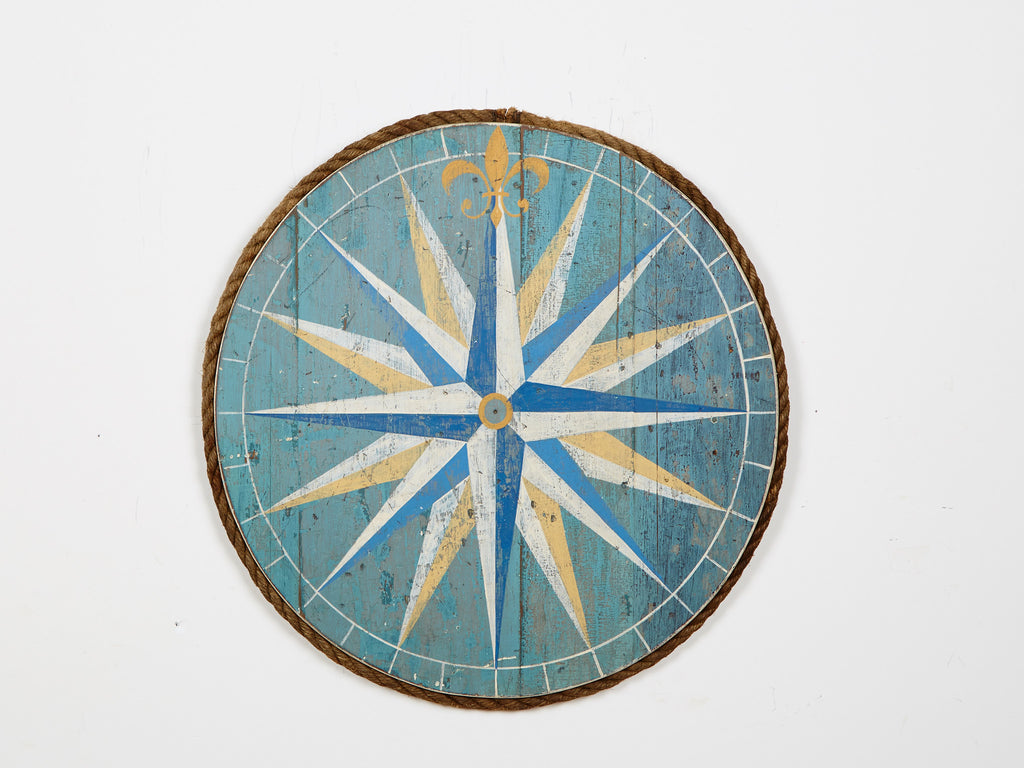 Compass Rose Green/Blue Sign Americana Art