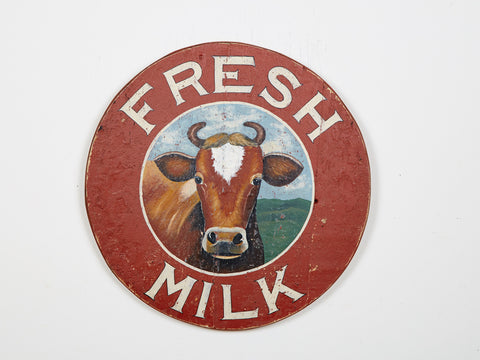 Fresh Milk Sign, Round Americana Art