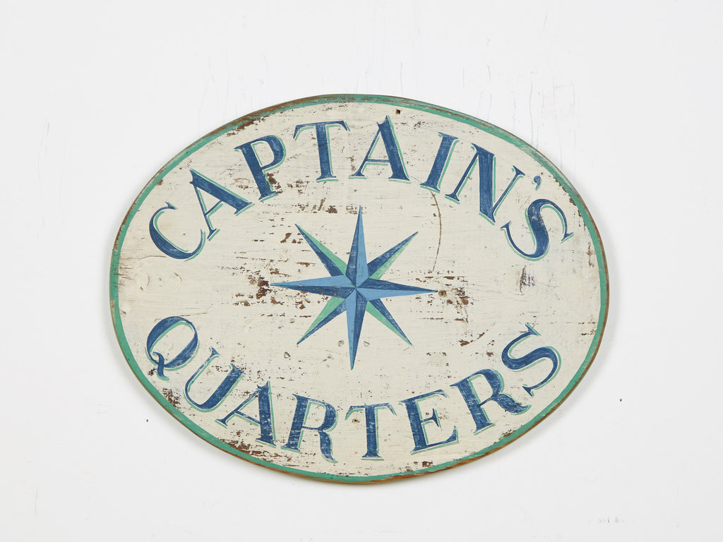 Captains Quarters Sign, Blue Letters/Robin Egg Blue Border Americana Art