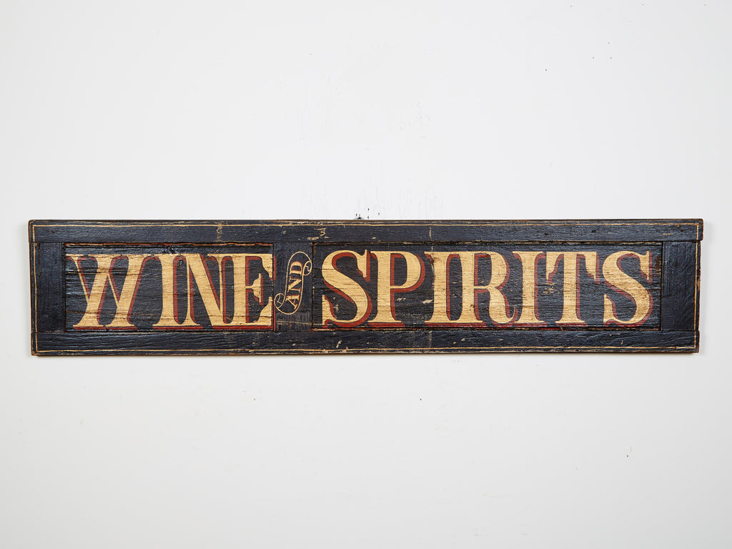 Wine and Spirits, Black on Antique Shutter Americana Art