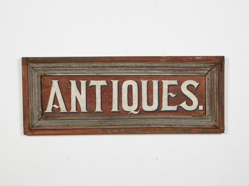 Antiques, White Letters, Cinnamon Colored Americana Art