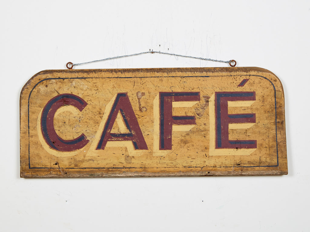 Cafe, Maroon Letters, Yellow Background Americana Art