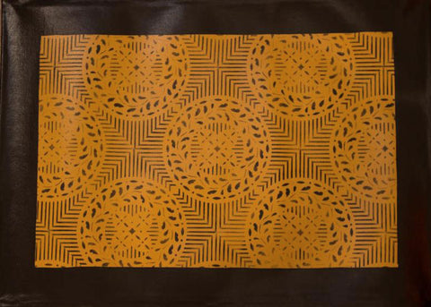 Edward Durant House Circles with Border in Yellow Ochre Floorcloth