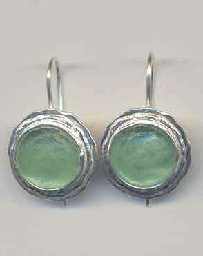Simple Round Washed Roman Glass Earrings