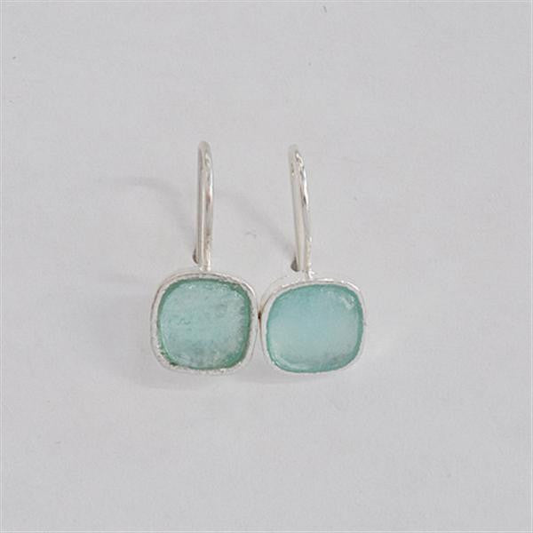 Simple Square Washed Roman Glass Earrings