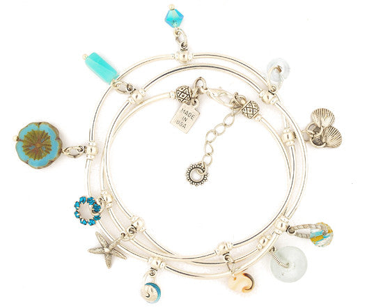 Blue Flower Triple Wrap Bracelet by Desert Heart
