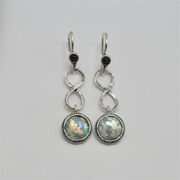 Infinity Dangle Patina Roman Glass Earrings with Lapis