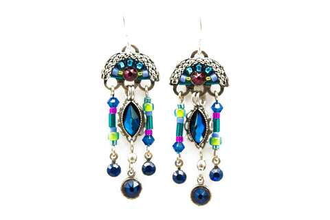 Bermuda Blue Emma Chandlier Earrings by Firefly Jewelry