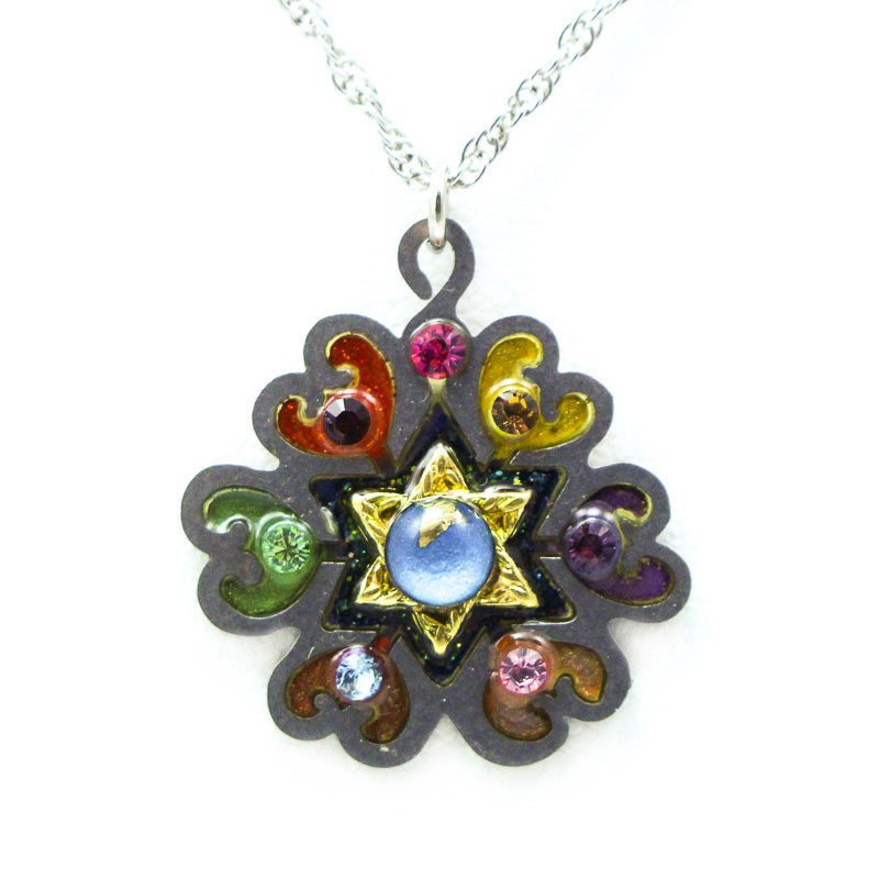 Rainbow Flower Star of David Necklace