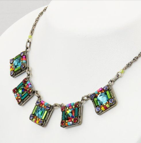 Multi Color Square Necklace by Firefly Jewelry