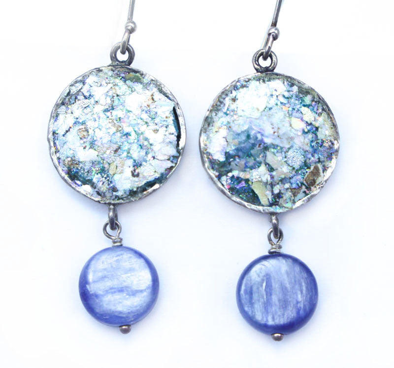 Kyanite Drop Roman Glass Earrings