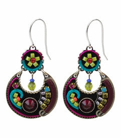 Multi Color Black Background Mosaic Earrings by Firefly Jewelry