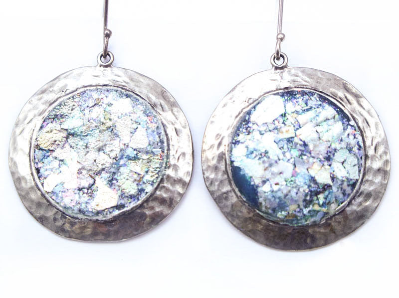 Hammered Sterling Silver Disc with Roman Glass Earrings