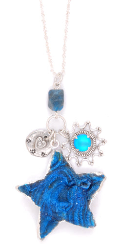 Blue Love Druzy Star Necklace by Desert Heart