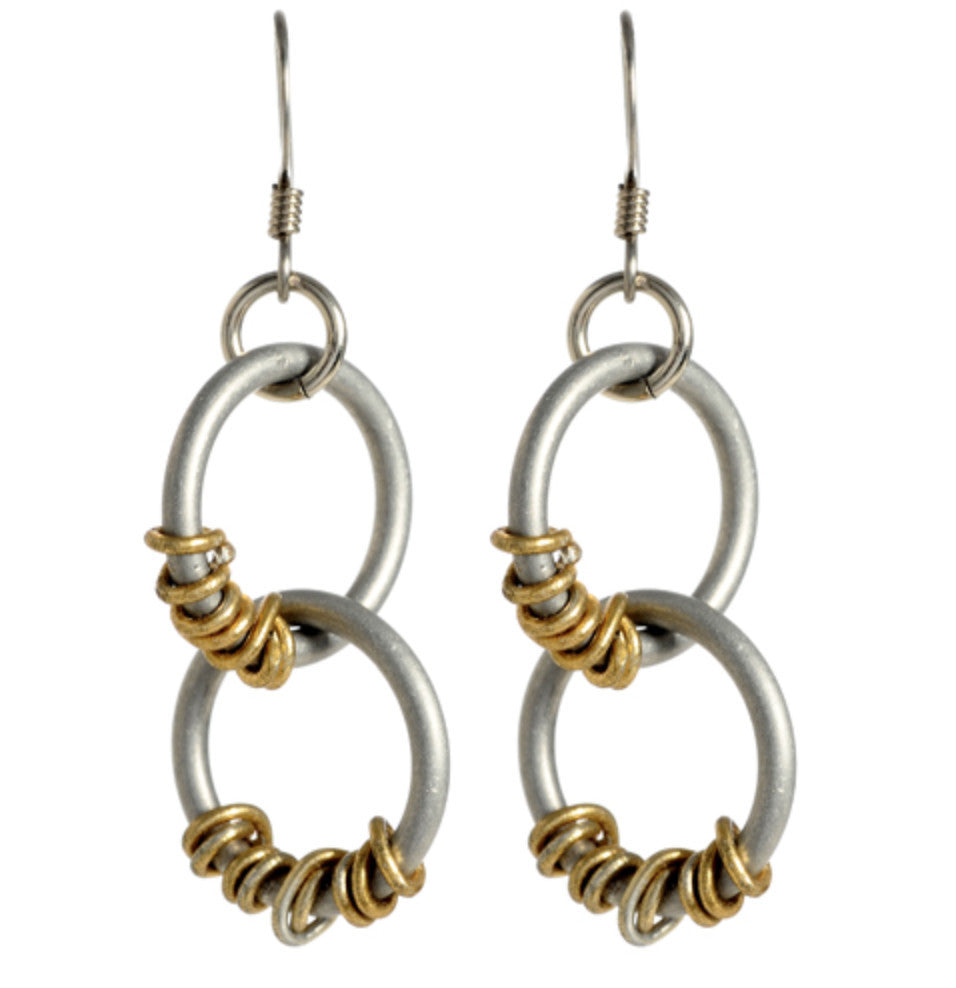 Double Silver Loop with Gold Wrap Earrings