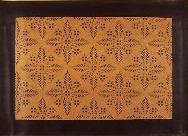 Edward Durant House Floorcloth with Black Border in Antique - Size 2 x 3