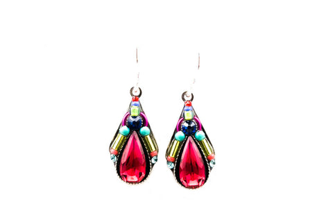 Multi Color Scarlet Camelia Simple Drop Earrings by Firefly Jewelry