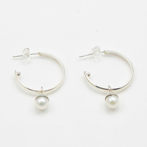 Sterling Silver Hoop with Pearl Drop Earrings