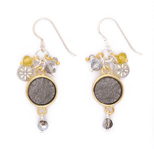 Charocoal Druzy with Gold Bezel Cluster Earrings by Desert Heart