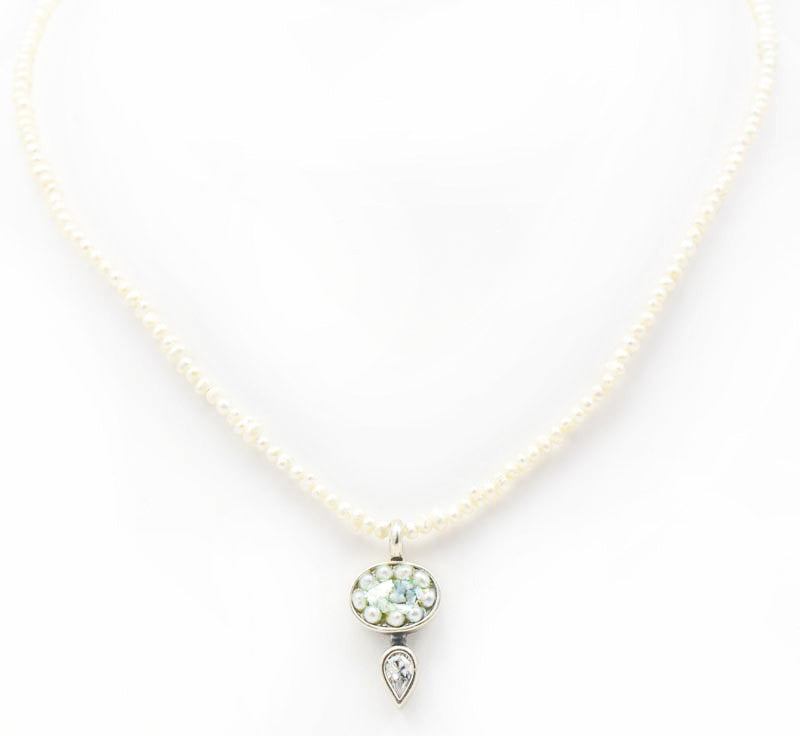Pearl and Cubic Zirconia Fantasy Roman Glass Necklace