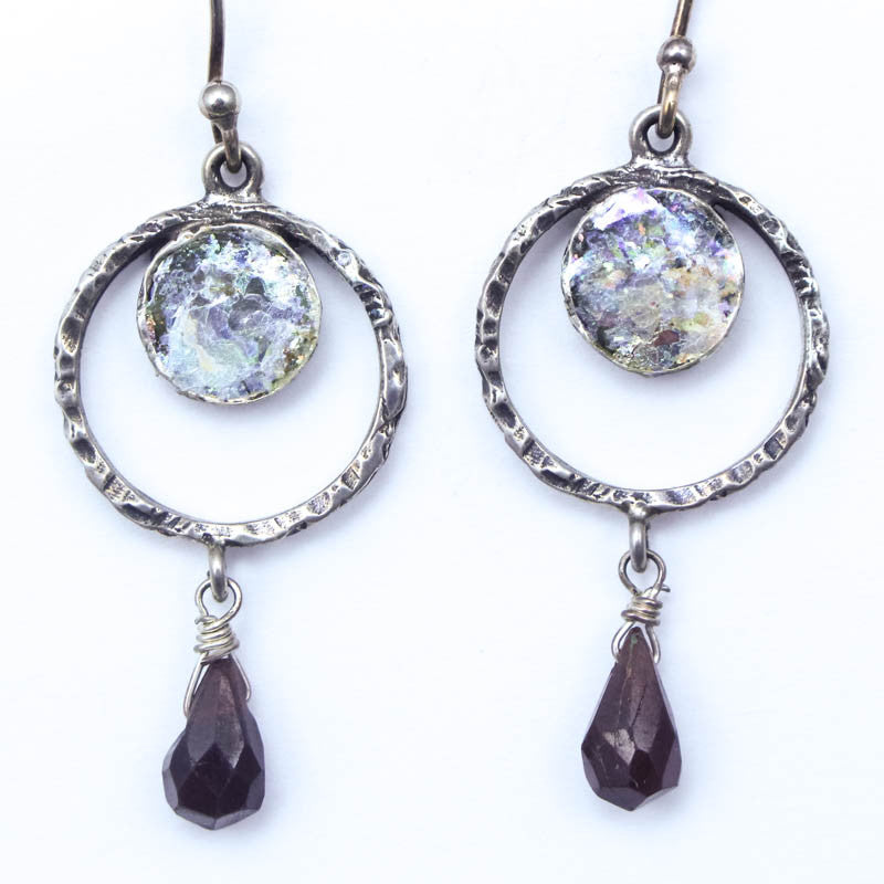 Garnet Drop with Circle Roman Glass Earrings