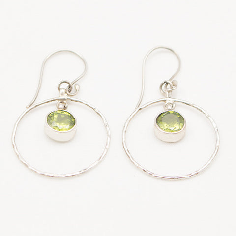 Sterling Silver Hammered Circle with Center Peridot Drop Earrings