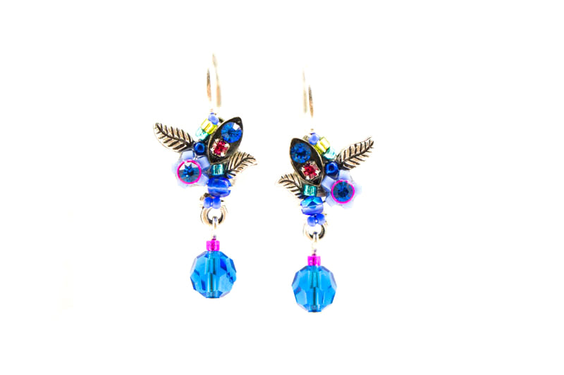 Bermuda Blue Petite Flower Earrings by Firefly Jewelry