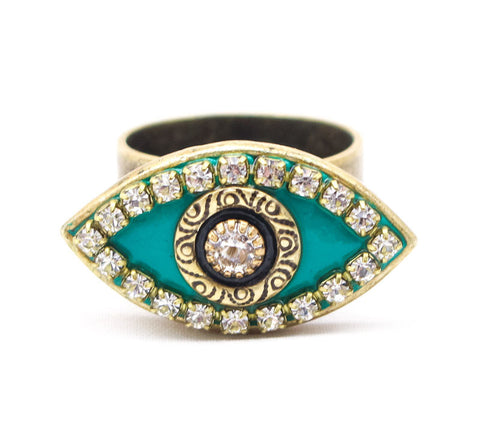 Teal, Gold, Black Eye Ring by Michal Golan