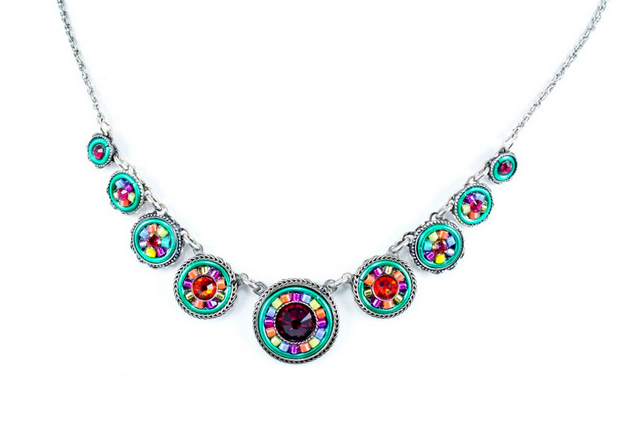 Multi Color La Dolce Vita Circles Necklace by Firefly Jewelry