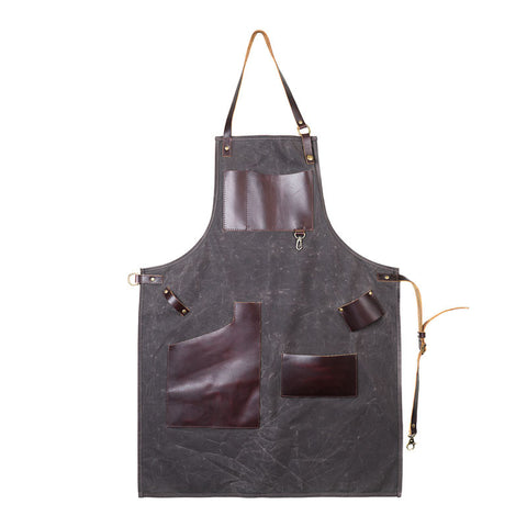 Waxed Canvas Journeyman Apron with Leather Pockets - Available in Multiple Colors