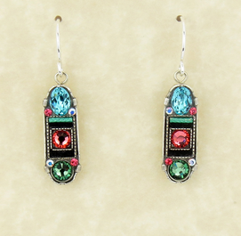 Erinite La Dolce Vita Oval Mosaic Earrings with Hope and Dream by Firefly Jewelry