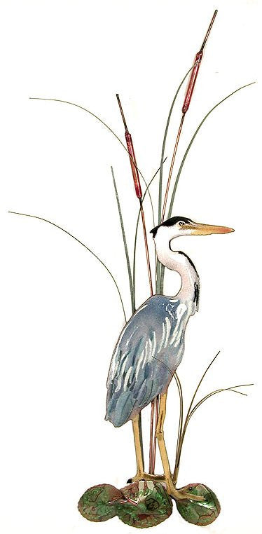 Small Great Blue Heron with Cattails Facing Right Wall Art by Bovano Cheshire